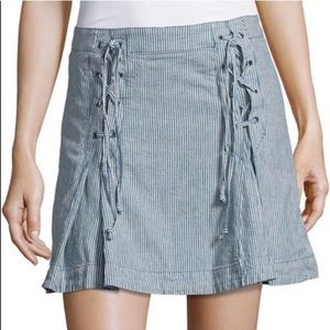 Free People Blue Pinstripe Lace Up Linen Skirt